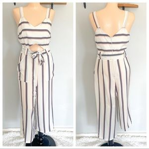 CRYSTAL SKY STRIPED BELLY CUT OUT JUMPSUIT